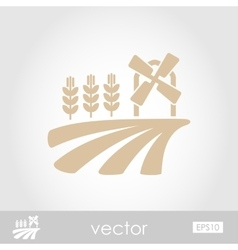 Field with a mill and wheat icon vector image