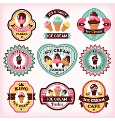 Set of different ice cream badges and labels vector image