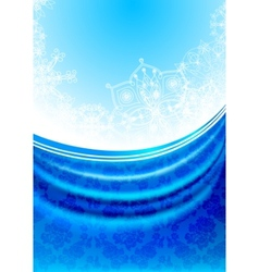Blue fabric curtain white snowflakes background vector