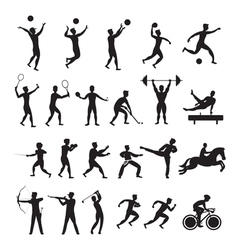 Sports athletes men symbol silhouette set vector