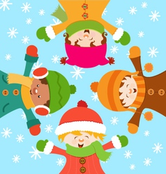 Kids celebrating snow vector