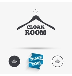 Cloakroom sign icon hanger wardrobe symbol vector