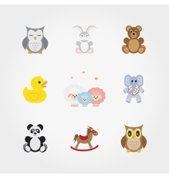 Baby toys cute little animals vector