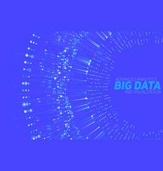 big data circular blue visualization vector image vector image