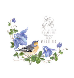 blue flower bird composition vector image