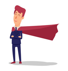 Cartoon successful businesman superhero in suit vector