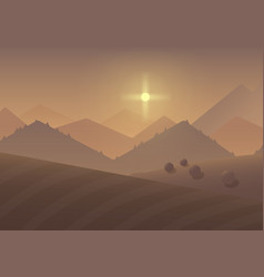 Cartoon sunrise Mountain Landscape Background with vector image vector image