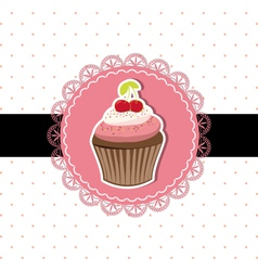 Cherry cupcake invitation card vector image vector image