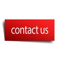 contact us red paper sign isolated on white vector image