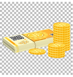 Crypto currency bitcoin banknotes and coins vector
