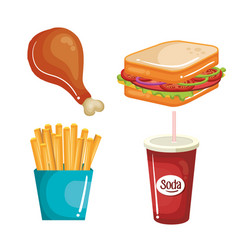 Delicious food set vector