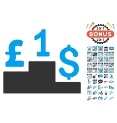 Dollar pound competition icon with 2017 year bonus vector