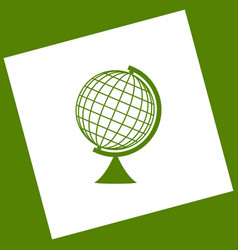 Earth globe sign white icon obtained as a vector