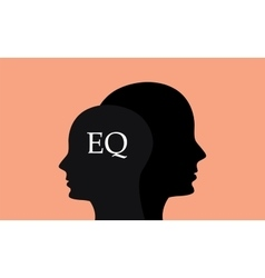 Eq emotional question with sillhouette human brain vector