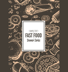 Fast food cafe menu cover design vector