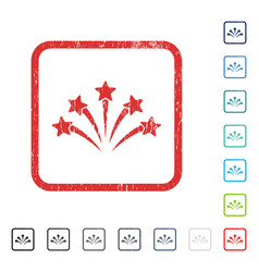 Fireworks burst icon rubber watermark vector
