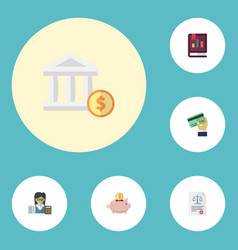 Flat icons bookkeeper card bank and other vector