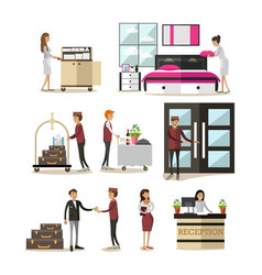 Flat icons set of hotel people cartoon vector
