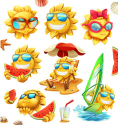 Fun summer sun characters 3d icon set vector