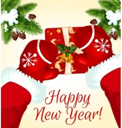 Greeting card with santa and gift box vector