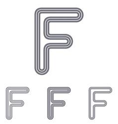 Grey line f logo design set vector