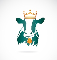 image of cow wearing a crown vector image