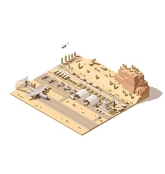 Isometric low poly military airbase vector