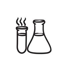 Laboratory equipment sketch icon vector