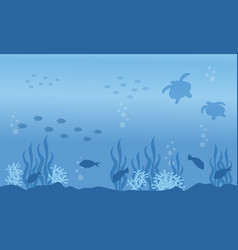 Landscape of turtle and fish on sea silhouettes vector