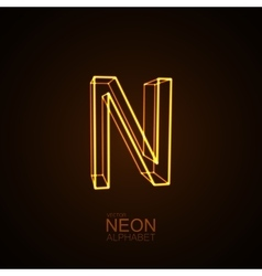 Neon 3D letter N vector image vector image