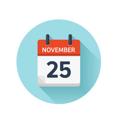 november 25 flat daily calendar icon date vector image