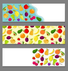 set of horizontal banners with fruits vector image vector image