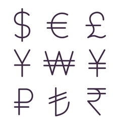 Set of regular currency signs vector