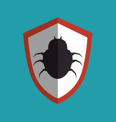 shield with bug icon vector image
