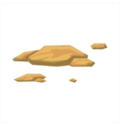 Small flat yellow rocks natural landscape design vector
