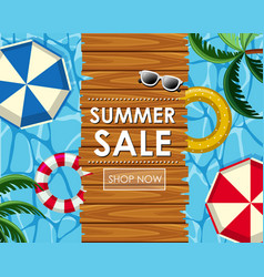 Summer sale poster design with floats and pool vector