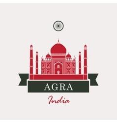 Taj Mahal and Indian flag vector image