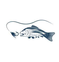 trout and lure design template vector image vector image