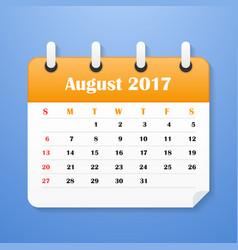 Usa calendar for august 2017 vector