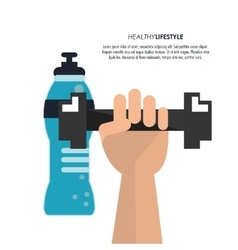 Weight and bottle icon fitness design vector