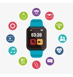 Blue smart watch digital wearable technology vector