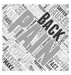 Back pain interventions word cloud concept vector