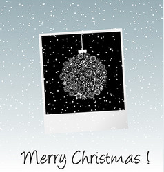 Christmas card with photo frame vector image