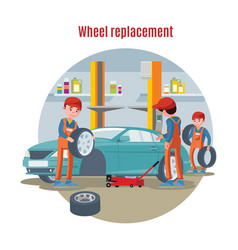 Colorful tire service concept vector