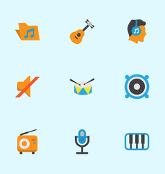 Music flat icons set collection of band karaoke vector