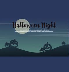 Halloween night scenery with pumpkin background vector