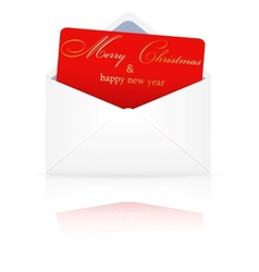 Open envelope with christmas card vector