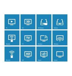 Tv icons on blue background vector