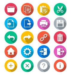Application toolbar flat color icons vector