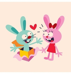 Bunnies in love vector